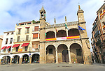Ayuntamiento town hall Abuelo Mayorga figure, Plasencia, Caceres province, Extremadura, Spain