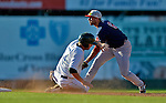30 June 2012: Lowell Spinners infielder Deven Marrero gets Chad Lewis out at second during a game against the Vermont Lake Monsters at Centennial Field in Burlington, Vermont. Mandatory Credit: Ed Wolfstein Photo