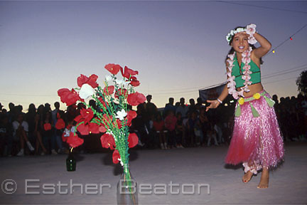 Young girl of Asian origin doing Hawaiian dance at Opal Festival, Coober Pedy, South Australia