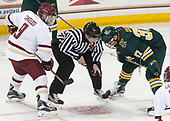 Austin Cangelosi (BC - 9), Nicholas Briganti, Ross Colton (UVM - 37) - The visiting University of Vermont Catamounts tied the Boston College Eagles 2-2 on Saturday, February 18, 2017, Boston College's senior night at Kelley Rink in Conte Forum in Chestnut Hill, Massachusetts.Vermont and BC tied 2-2 on Saturday, February 18, 2017, Boston College's senior night at Kelley Rink in Conte Forum in Chestnut Hill, Massachusetts.
