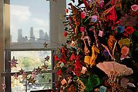 New York, NY, USA - November 16, 2017: OrigamiUSA 2017 Holiday Tree at the American Museum of Natural History - design and set up period.