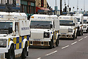 PSNI (Police Service of Northern Ireland) Landrovers patrol the center of Belfast ahead of this weeks G8 Summit in Fermanagh, Northern Ireland, Saturday, June 15, 2013. Photo/Paul McErlane.   Northern Ireland, 15 June 2013. Leaders from Canada, France, Germany, Italy, Japan, Russia, USA and UK are meeting at Lough Erne in Northern Ireland for the G8 Summit 17-18 June.