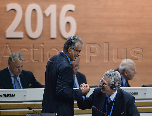 26.02.2016. Zurich, Switzerland. Sheikh Salman Bin Ebrahim Al Khalifa (L), of Bahrain, candidate for FIFA President, welcomes UEFA vice president Angel Maria Villar Llona during the Extraordinary FIFA Congress 2016 at the Hallenstadion in Zurich, Switzerland, 26 February 2016. The Extraordinary FIFA Congress is being held in order to vote on the proposals for amendments to the FIFA Statutes and choose the new FIFA President.