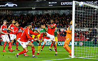 Preston North End's Lukas Nmecha shoots wide under pressure from Middlesbrough's John Obi Mikel<br /> <br /> Photographer Alex Dodd/CameraSport<br /> <br /> The EFL Sky Bet Championship - Middlesbrough v Preston North End - Wednesday 13th March 2019 - Riverside Stadium - Middlesbrough<br /> <br /> World Copyright &copy; 2019 CameraSport. All rights reserved. 43 Linden Ave. Countesthorpe. Leicester. England. LE8 5PG - Tel: +44 (0) 116 277 4147 - admin@camerasport.com - www.camerasport.com