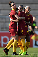 Martina Piemonte (L) of AS Roma celebrates with team mates Maria Zecca and Allyson Swaby after scoring the opening goal during the Women Italy cup round of 8 second leg match between AS Roma and Roma Calcio Femminile at stadio delle tre fontane, Roma, February 20, 2019 <br /> Foto Andrea Staccioli / Insidefoto
