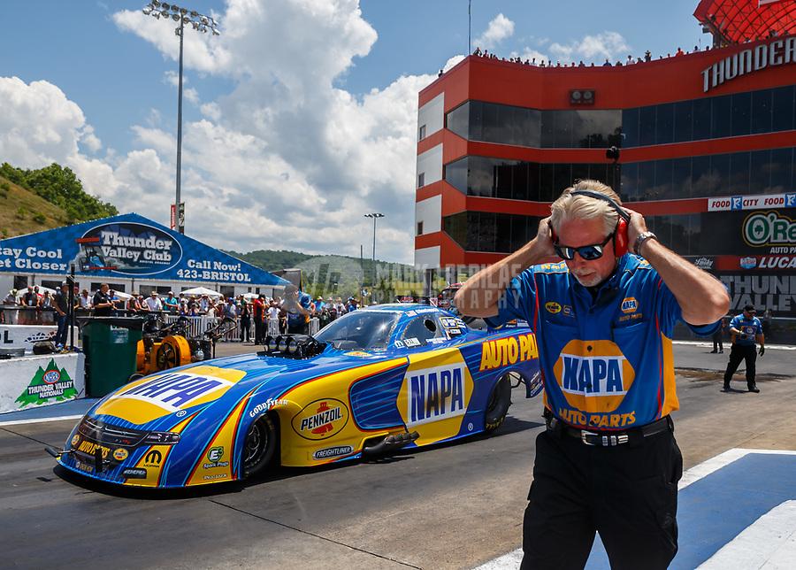 Jun 18, 2017; Bristol, TN, USA; Crew chief Rahn Tobler for NHRA funny car driver Ron Capps during the Thunder Valley Nationals at Bristol Dragway. Mandatory Credit: Mark J. Rebilas-USA TODAY Sports