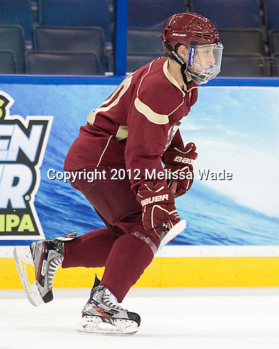 Danny Linell (BC - 10) - The Boston College Eagles practiced on Wednesday, April 4, 2012, during the 2012 Frozen Four at the Tampa Bay Times Forum in Tampa, Florida.