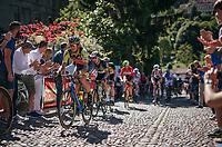 Filippo 'Pipo' Pozzato (ITA/Wilier Triestina-Selle Italia) over the 'cobbles' up the final climb towards the Citt&agrave; Alta in Bergamo<br /> <br /> Stage 15: Valdengo &rsaquo; Bergamo (199km)<br /> 100th Giro d'Italia 2017