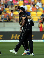Tim Southee congratulates Ish Sodhi on the dismissal of Ben Stokes during the One Day International between the New Zealand Black Caps and England at the Westpac Stadium in Wellington, New Zealand on Friday, 2 March 2018. Photo: Dave Lintott / lintottphoto.co.nz