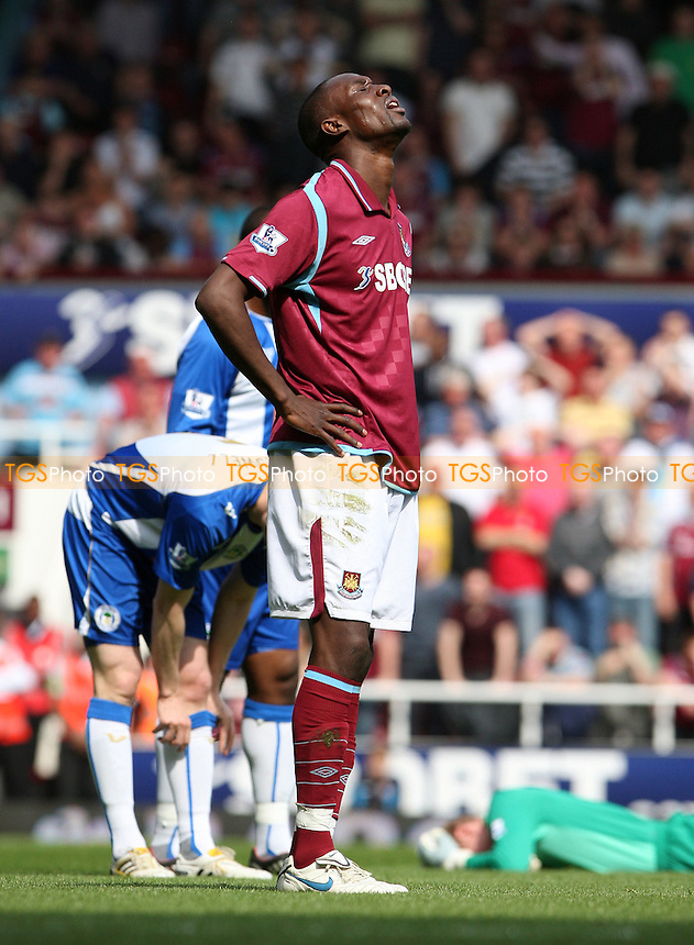 Carlton Cole of West Ham after missing a first half chance - West Ham Utd vs Wigan Athletic, Barclays Premier League at Upton Park, West Ham - 24/04/10 - MANDATORY CREDIT: Rob Newell/TGSPHOTO - Self billing applies where appropriate - 0845 094 6026 - contact@tgsphoto.co.uk - NO UNPAID USE.