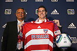 14 January 2010: Zach Lloyd was selected with the #5 overall pick by FC Dallas. With Schellas Hyndman (left). The 2010 MLS SuperDraft was held in the Ballroom at Pennsylvania Convention Center in Philadelphia, PA during the NSCAA Annual Convention.