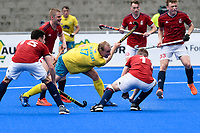2nd February 2020; Sydney Olympic Park, Sydney, New South Wales, Australia; International FIH Field Hockey, Australia versus Great Britain; Aran Zalewski of Australia takes a shot on goal