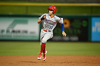 Clearwater Threshers right fielder Simon Muzziotti (12) running the bases during a Florida State League game against the Dunedin Blue Jays on April 4, 2019 at Spectrum Field in Clearwater, Florida.  Dunedin defeated Clearwater 11-1.  (Mike Janes/Four Seam Images)