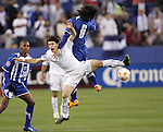 20 March 2008: Jean Marquez (GUA) (7) and Luis Alfredo Lopez (HON) (6) challenge for the ball. The Honduras U-23 Men's National Team defeated the Guatemala U-23 Men's National Team 6-5 on penalty kicks after a 0-0 overtime tie at LP Field in Nashville,TN in a semifinal game during the 2008 CONCACAF Men's Olympic Qualifying Tournament. With the penalty kick victory, Honduras qualifies for the 2008 Beijing Olympics.