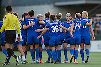 Seattle, WA - Saturday, July 02, 2016: Seattle Reign FC celebrate Seattle Reign FC forward Nahomi Kawasumi's (36) second goal of the game, during a regular season National Women's Soccer League (NWSL) match between the Seattle Reign FC and the Boston Breakers  at Memorial Stadium.