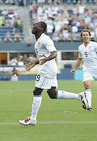 Freddy Adu celebrates his goal in the first half during the First Round of the 2009 CONCACAF Gold Cup at Qwest Field in Seattle, Washington on July 4, 2009.