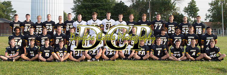 August 19, 2017- Tuscola, IL- The 2017 Tuscola Warrior Varsity Football team. Standing from left are Jacob Kibler, Ben Dixon, Gage Russell, Cade Kresin, Tim Jaster, Ryan Bartley, Jacob Craddock, Hunter Woodard, Cale Sementi, John Hill, Lucas Sluder, Brayden VonLanken, C.J. Picazo, Haden Cothron, Cade Morgan, and Turner Hastings. Kneeling from left are Caden Cradle, Cameron Homann, Bradly Mast, Max Wyninger, Josh Dyer, Dakota Denny, Caleb Stumeier, Noah Pierce, Matthew Reese, Ethan Kamerer, Will Little, Cole Robinson, Matthew Cantu, Blake Schultz, and Sergio Martinez. Sitting from left are Gibson Wells, Lucas Kresin, Ashton Jones, Jake Reed, Joseph Wells, Andrew Erickson, Kevin Miller, Dalton Hoel, Jonah Pierce, Logan Tabeling, Eric Brewer, Brandon Douglas, and Dalton Grover. Photo: Douglas Cottle]