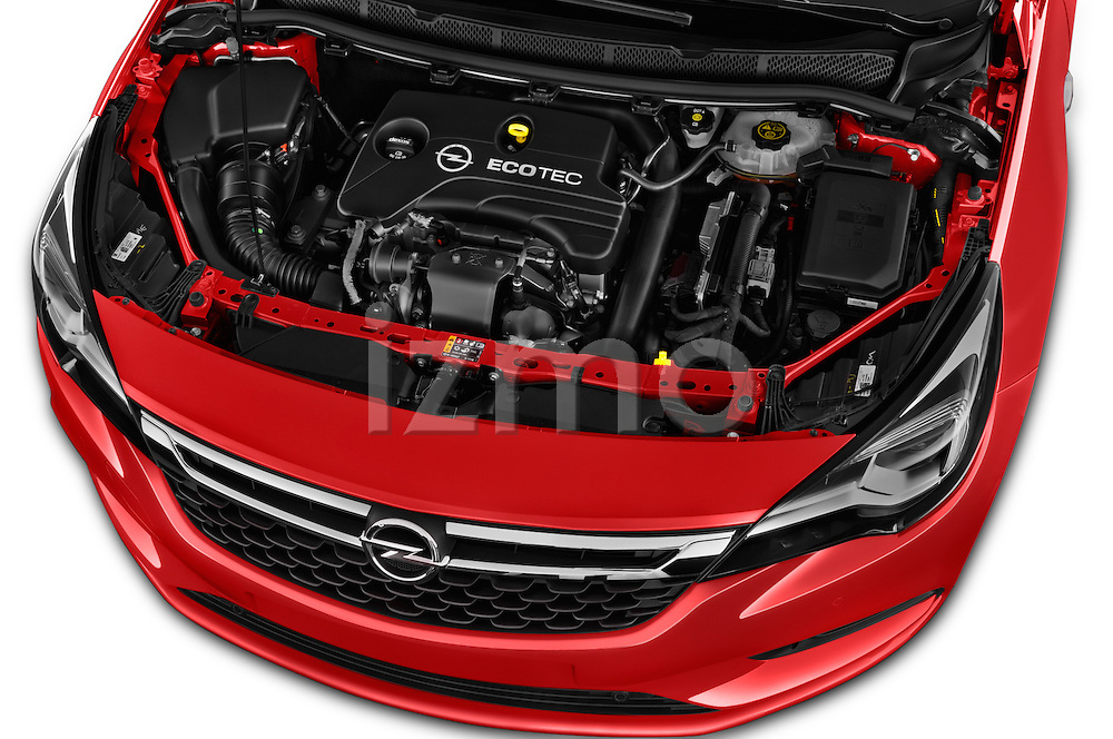 Car Stock 2016 Opel Astra Dynamic 4 Door Hatchback Engine  high angle detail view