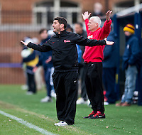 St. John's assistant coach Jeff Matteo and head coach Dave Masur dispute a referee's call during the game at North Kehoe Field in Washington DC. Georgetown defeated St. John's, 2-1, in the Big East conference tournament quarterfinals.