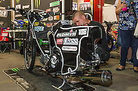 The motorcyle of TAI WOFFINDEN (Great Britain) is being prepared ahead of the 2016 Adrian Flux British FIM Speedway Grand Prix at Principality Stadium, Cardiff, Wales  on 9 July 2016. Photo by David Horn.