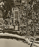 historical aerial photograph Georgetown medical center along Potomac River, Washington, DC, 1951