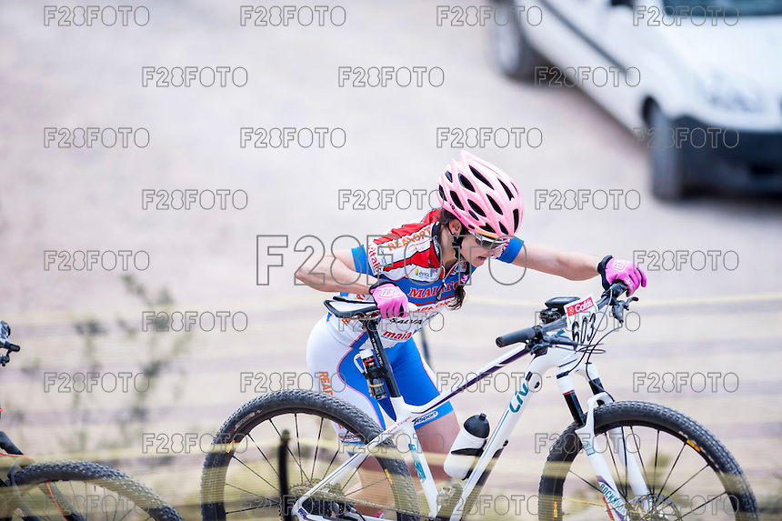 Chelva, SPAIN - MARCH 6: Lucia Vazquez during Spanish Open BTT XCO on March 6, 2016 in Chelva, Spain