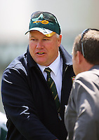 Australia coach Rob Nowlan shakes hands with NZ coach Grant Hansen after the game during the International rugby match between New Zealand Secondary Schools and Suncorp Australia Secondary Schools at Yarrows Stadium, New Plymouth, New Zealand on Friday, 10 October 2008. Photo: Dave Lintott / lintottphoto.co.nz