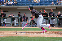 Visalia Rawhide Pavin Smith (6) hustles down the first base line against the Rancho Cucamonga Quakes at LoanMart Field on May 13, 2018 in Rancho Cucamonga, California. The Quakes defeated the Rawhide 3-2.  (Donn Parris/Four Seam Images)
