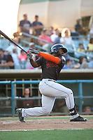 Chantz Mack (4) of the Bakersfield Blaze bats against the Lancaster JetHawks at The Hanger on June 18, 2016 in Lancaster, California. Bakersfield defeated Lancaster, 10-7. (Larry Goren/Four Seam Images)