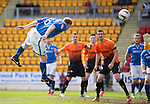 St Johnstone v Dundee United...19.04.14    SPFL<br /> Steven Anderson heads saints into the lead<br /> Picture by Graeme Hart.<br /> Copyright Perthshire Picture Agency<br /> Tel: 01738 623350  Mobile: 07990 594431