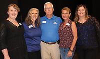 NWA Democrat-Gazette/CARIN SCHOPPMEYER Camille Hector (from left), Michelle Lewis, Kerry Jensen, Stephanie Hagan and Toni Luetjen enjoy the Blevins Gallery rededication.