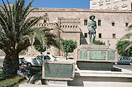 May 7th, 1987. In Melilla, Spanish Morocco. Memorial statue to remind that Franco, started his victory march in July 1936, with his troop to fight the Popular Front in Melilla.