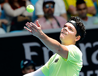26th January 2020; Melbourne Park, Melbourne, Victoria, Australia; Australian Open Tennis, Day 7; Milos  Raonic of Canada serves during his match against Mario Cilic of Croatia