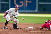 Texas A&M Aggies shortstop Blake Allemand (1) awaits a throw at second base as Nebraska Cornhuskers baserunner Jake Schleppenbach (6) slides into second base during Houston College Classic on March 6, 2015 at Minute Maid Park in Houston, Texas. Texas A&M defeated Nebraska 2-1. (Andrew Woolley/Four Seam Images)