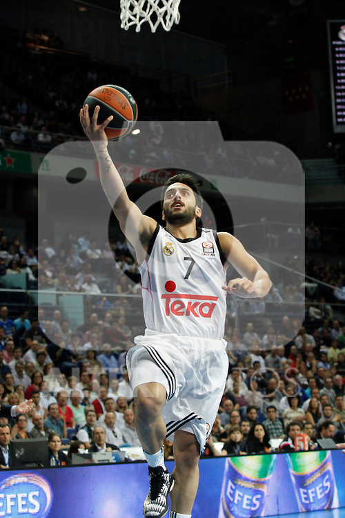 Basketball Real Madrid´s Campazzo during Euroleague basketball match in Madrid, Spain. October 17, 2014. (ALTERPHOTOS/Victor Blanco)