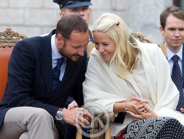Crown Prince Haakon and Crown Princess Mette-Marit of Norway visit Mineralpark at Evje og Hornnes during a  three day visit, to the county of Aust-Agder in Southern Norway