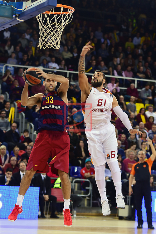 Turkish Airlines Euroleague 2016/2017.<br /> Regular Season - Round 22.<br /> FC Barcelona Lassa vs Galatasaray Odeabank Istanbul: 62-69.<br /> Stratos Perperoglu vs Goksenin Koksal.