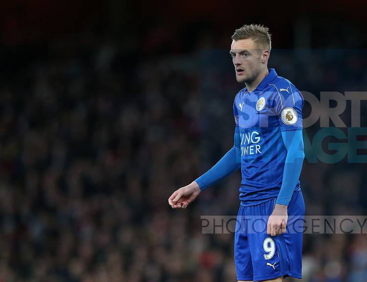 Leicester's Jamie Vardy in action during the Premier League match at the Emirates Stadium, London. Picture date: April 26th, 2017. Pic credit should read: David Klein/Sportimage