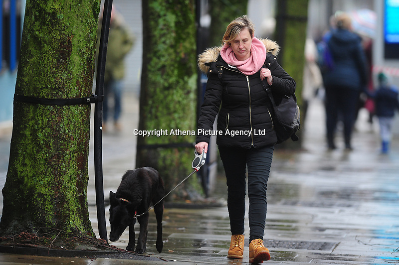 Pictured: A women walks her dog as they battle with the wind and rain in Swansea City Centre, Swansea Wales, UK. Friday 08 February 2019<br /> Re: