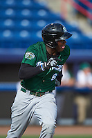 Daytona Tortugas right fielder Aristides Aquino (6) runs to first during a game against the Brevard County Manatees on August 14, 2016 at Space Coast Stadium in Viera, Florida.  Daytona defeated Brevard County 9-3.  (Mike Janes/Four Seam Images)