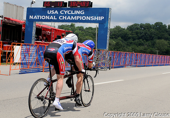 July 1, 2009: Tandem racers, Stuart Ross and Joshua Frick, sprint from the start house during the 2009 U.S. Masters Cycling Time Trial National Championship, Louisville, Kentucky.