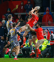 29th February 2020; Thomond Park, Limerick, Munster, Ireland; Guinness Pro 14 Rugby, Munster versus Scarlets; Arno Botha of Munster collects the r-start ball