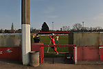 Stamford AFC 2 Marine 4, 29/03/2014. Wothorpe Road, Northern Premier League. A Stamford player takes a throw in the dugout area during The Northern Premier League game between Stamford AFC and Marine from The Daniels Stadium. Marine won the game 4-2 in front of 320 supporters to boost their chances of relegation survival. Stamford AFC are moving to the brand new Zeeco Stadium at the end of the 2013/14 season. Photo by Simon Gill.