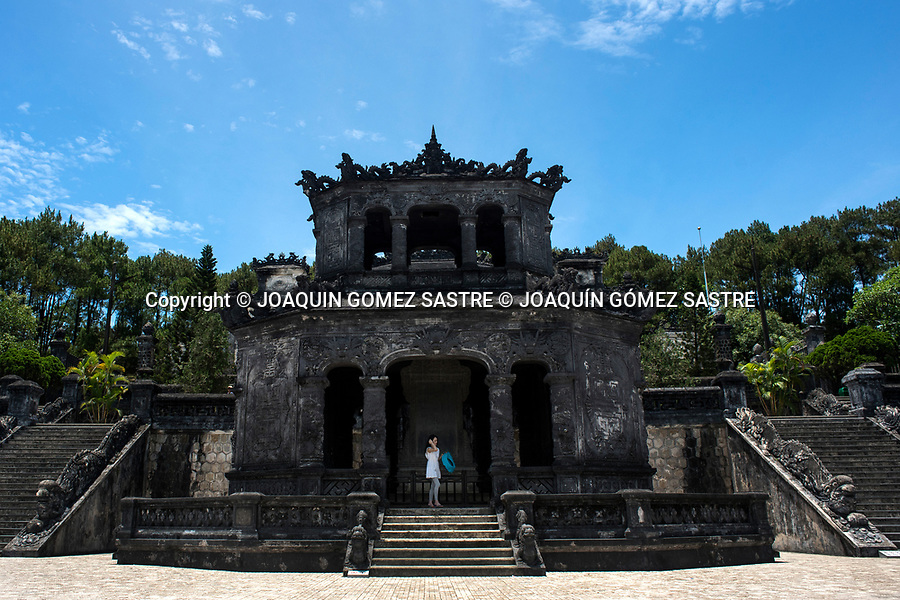 Interior of the imperial tomb of Khai Dinh very close to the city of Hue in Vietnam<br /> HUE-VIETNAM