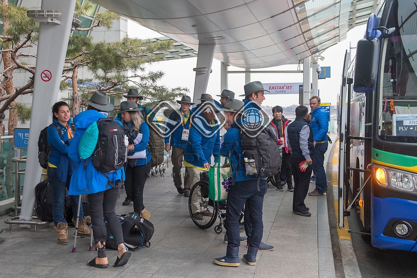 Home / Team depart from Seoul airport<br /> PyeongChang 2018 Paralympic Games<br /> Australian Paralympic Committee<br /> Sydney International Airport<br /> PyeongChang South Korea<br /> Tuesday March 20th 2018<br /> &copy; Sport the library / Jeff Crow