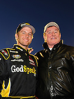 Apr 16, 2009; Avondale, AZ, USA; NASCAR Camping World Series West driver Blake Koch (left) with car owner Richard Childress prior to the Jimmie Johnson Foundation 150 at Phoenix International Raceway. Mandatory Credit: Mark J. Rebilas-