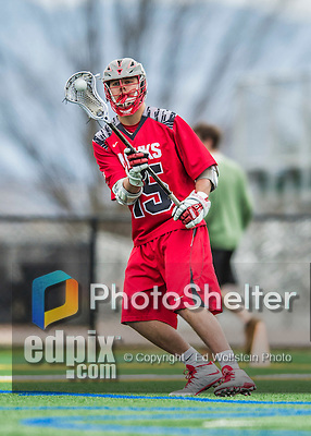 18 April 2015: University of Hartford Hawk Attacker Griffin Feiner, a Freshman from Dewitt, NY, in action against the University of Vermont Catamounts at Virtue Field in Burlington, Vermont. The Cats defeated the Hawks 14-11 in the final home game of the 2015 season. Mandatory Credit: Ed Wolfstein Photo *** RAW (NEF) Image File Available ***