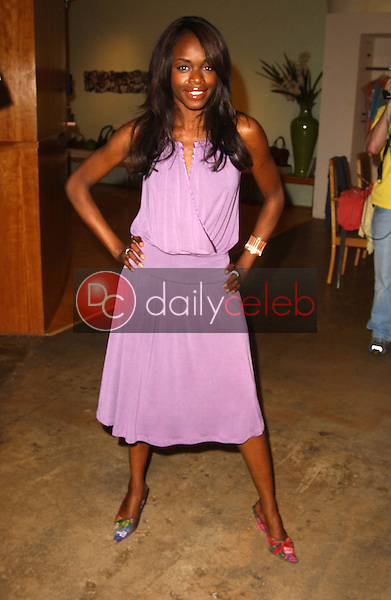 Nzinga Blake<br />taping a segment for Current T.V. featuring Eco-Friendly Fashion Line Sworn Virgins. Focus Showroom, Los Angeles, CA. 05-03-06<br />Exclusive<br />Dave Edwards/DailyCeleb.com 818-249-4998