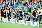 The Hague, Netherlands, June 10: Players of New Zealand in the dugout after the field hockey group match (Men - Group B) between New Zealand and The Netherlands on June 10, 2014 during the World Cup 2014 at Kyocera Stadium in The Hague, Netherlands. Final score 1-1 (0-1) (Photo by Dirk Markgraf / www.265-images.com) *** Local caption ***