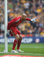 Watford's Heurelho Gomes<br /> <br /> Photographer Rob Newell/CameraSport<br /> <br /> Emirates FA Cup Semi-Final  - Watford v Wolverhampton Wanderers - Sunday 7th April 2019 - Wembley Stadium - London<br />  <br /> World Copyright © 2019 CameraSport. All rights reserved. 43 Linden Ave. Countesthorpe. Leicester. England. LE8 5PG - Tel: +44 (0) 116 277 4147 - admin@camerasport.com - www.camerasport.com